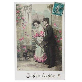 フランス ポストカード フランス 1900年初頭 アンティーク  ポストカード【ローズ あけましておめでとう Bonne Annee】