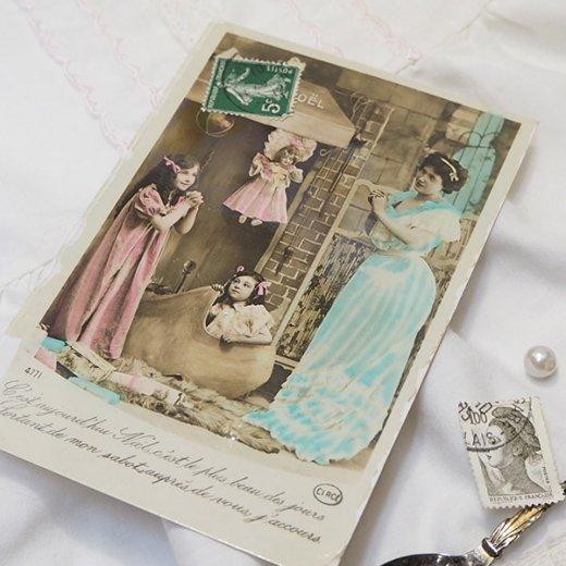 フランス 1900年初頭 アンティーク クリスマス ポストカード【クリスマスにお祈りを】【画像4】