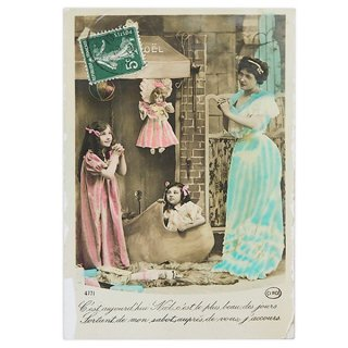 ガーリー & 乙女 アンティーク ヴィンテージ フランス 1900年初頭 アンティーク クリスマス ポストカード【クリスマスにお祈りを】