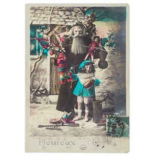 ポストカード フランス 1900年初頭 アンティーク クリスマス ポストカード【サンタクロースと幼子3】