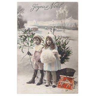 ガーリー & 乙女 アンティーク ヴィンテージ フランス 1912年 アンティーク クリスマス ポストカード【幼子とツリー】