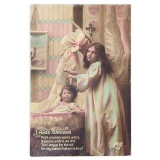 アンティーク フランス 1919年 アンティーク クリスマス ポストカード【守護天使】