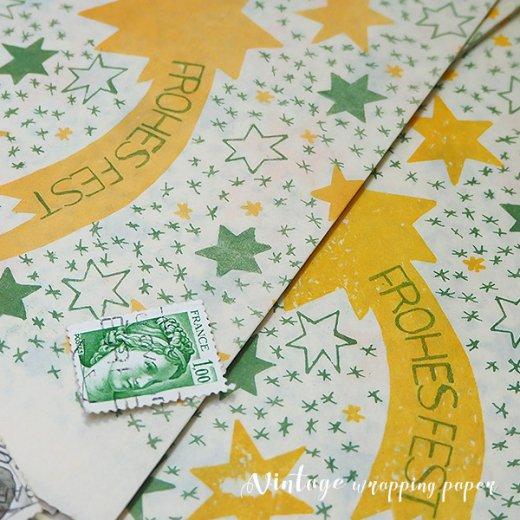 ドイツ クリスマス ラッピング包装紙 55×82cm DDR時代(旧東ドイツ)【スター・orange】【画像4】