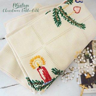 アンティーク ドイツ ヴィンテージ クリスマス テーブルクロス ステッチ刺繍【キャンドル】