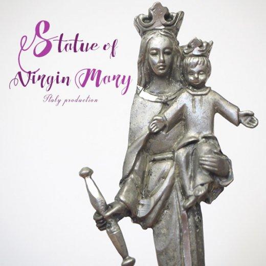イタリア製 アンティーク キリストを抱く聖母マリアの像 オブジェ(ピューター)【画像5】