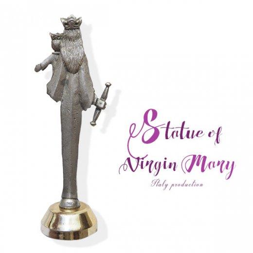 イタリア製 アンティーク キリストを抱く聖母マリアの像 オブジェ(ピューター)【画像6】