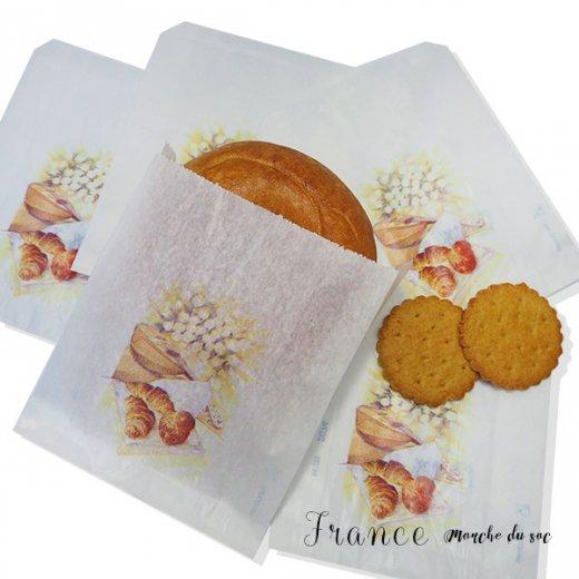 マルシェ袋 フランス 海外市場の紙袋(Sサイズ/クロワッサンとマンドリン・ギター)5枚セット
