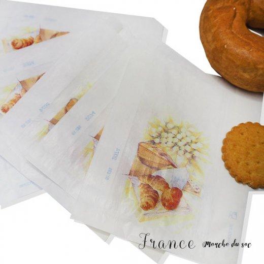 マルシェ袋 フランス 海外市場の紙袋(Sサイズ/クロワッサンとマンドリン・ギター)5枚セット【画像4】