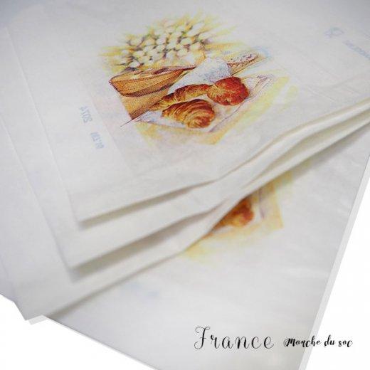 マルシェ袋 フランス 海外市場の紙袋(Sサイズ/クロワッサンとマンドリン・ギター)5枚セット【画像5】
