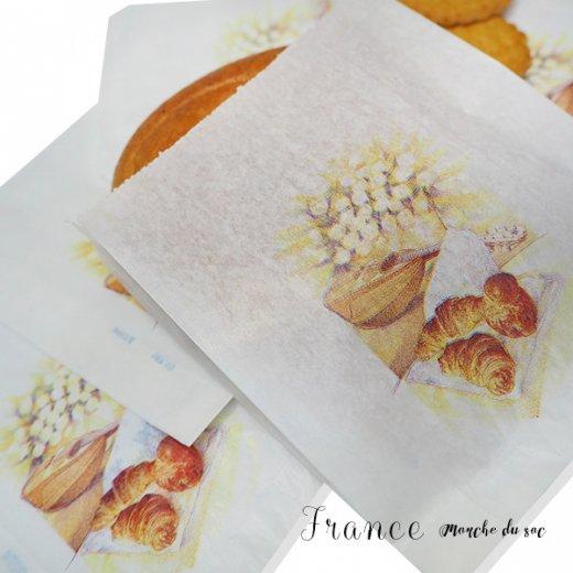 マルシェ袋 フランス 海外市場の紙袋(Sサイズ/クロワッサンとマンドリン・ギター)5枚セット【画像6】
