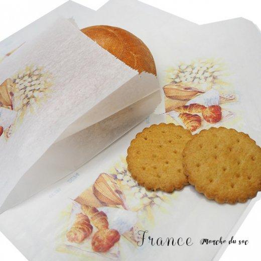 マルシェ袋 フランス 海外市場の紙袋(Sサイズ/クロワッサンとマンドリン・ギター)5枚セット【画像7】