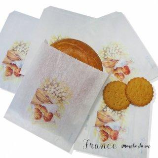 フランス マルシェ袋 マルシェ袋 フランス 海外市場の紙袋(Sサイズ/クロワッサンとマンドリン・ギター)5枚セット