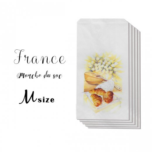 マルシェ袋 フランス 海外市場の紙袋( クロワッサンとマンドリン・ギター Mサイズ)5枚セット