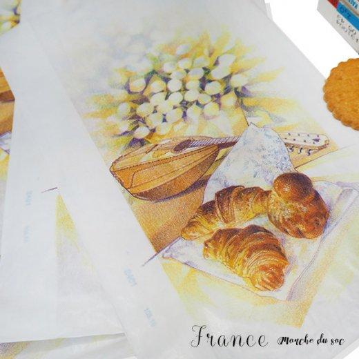 マルシェ袋 フランス 海外市場の紙袋(Mサイズ/クロワッサンとマンドリン・ギター)5枚セット【画像3】