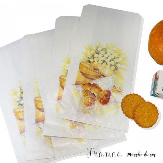 マルシェ袋 フランス 海外市場の紙袋(Mサイズ/クロワッサンとマンドリン・ギター)5枚セット【画像5】