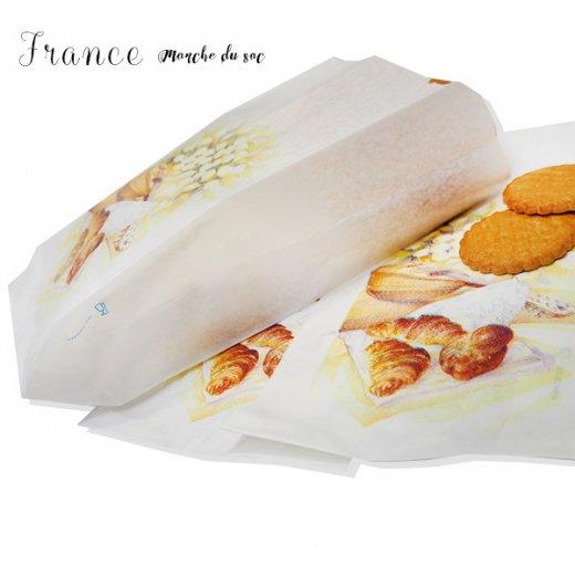 マルシェ袋 フランス 海外市場の紙袋(Mサイズ/クロワッサンとマンドリン・ギター)5枚セット【画像7】