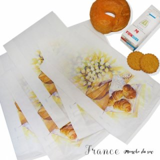 マルシェ袋 フランス 海外市場の紙袋(Mサイズ/クロワッサンとマンドリン・ギター)5枚セット