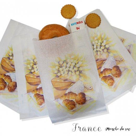 マルシェ袋 フランス 海外市場の紙袋(Lサイズ/クロワッサンとマンドリン・ギター)5枚セット