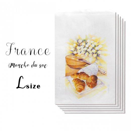 マルシェ袋 フランス 海外市場の紙袋(Lサイズ/クロワッサンとマンドリン・ギター)5枚セット【画像2】