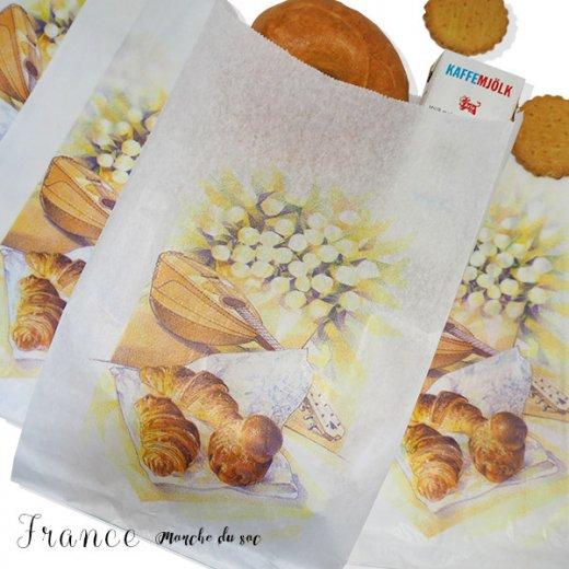 マルシェ袋 フランス 海外市場の紙袋(Lサイズ/クロワッサンとマンドリン・ギター)5枚セット【画像3】