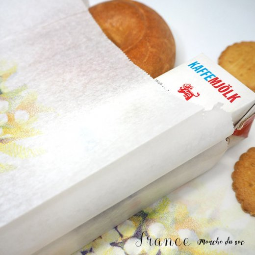 マルシェ袋 フランス 海外市場の紙袋(Lサイズ/クロワッサンとマンドリン・ギター)5枚セット【画像4】