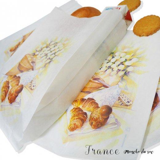マルシェ袋 フランス 海外市場の紙袋(Lサイズ/クロワッサンとマンドリン・ギター)5枚セット【画像6】