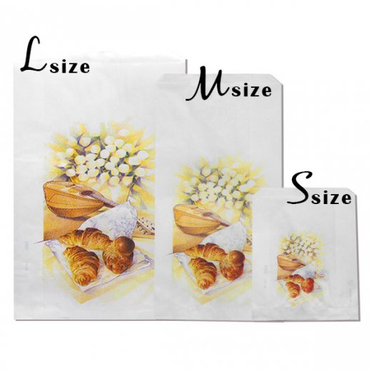 マルシェ袋 フランス 海外市場の紙袋(Lサイズ/クロワッサンとマンドリン・ギター)5枚セット【画像7】