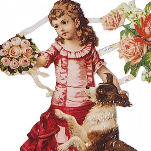 ドイツ クロモス【M】バラ ビクトリアン 少女と犬