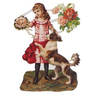 かわいい雑貨 ドイツ クロモス【M】(バラ ビクトリアン 少女と犬)