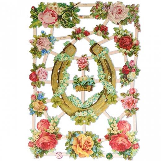 ドイツ クロモス【M】幸福のシンボル つがい鳩 馬蹄 蹄鉄