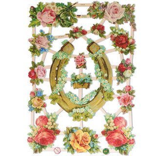 かわいい雑貨 ドイツ クロモス【M】(幸福のシンボル つがい鳩 馬蹄 蹄鉄)