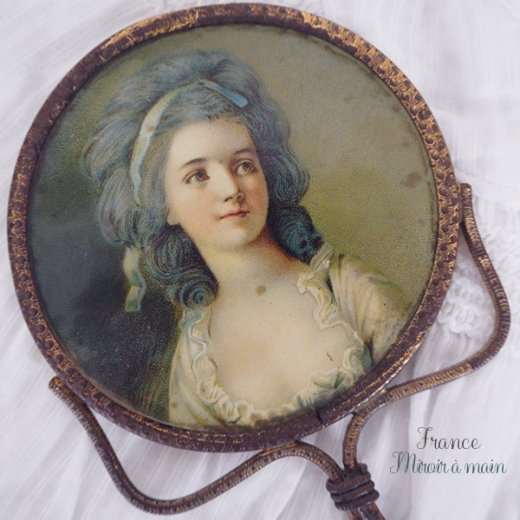 【送料無料】フランス アンティーク ビクトリアン 手鏡(貴婦人の肖像) 【画像2】