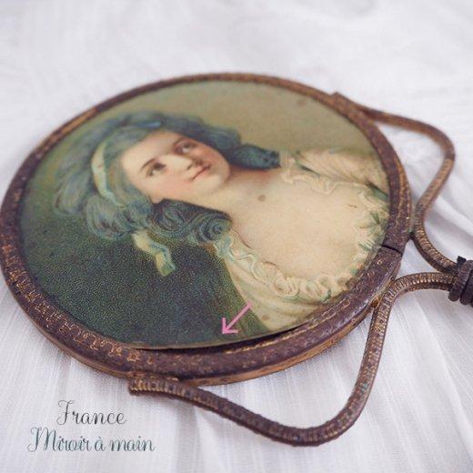 【送料無料】フランス アンティーク ビクトリアン 手鏡(貴婦人の肖像) 【画像4】