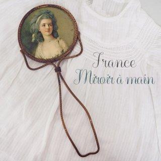 【送料無料】フランス アンティーク ビクトリアン 手鏡(貴婦人の肖像)