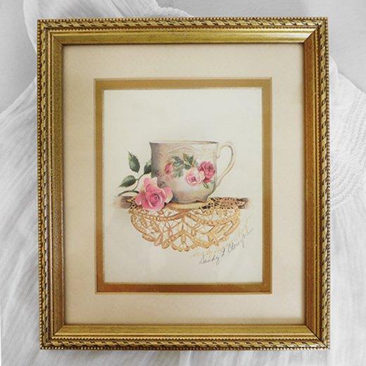 イギリス アンティーク 壁用フレーム画 バラ ローズ レース カップの画【Roses cup and daily】