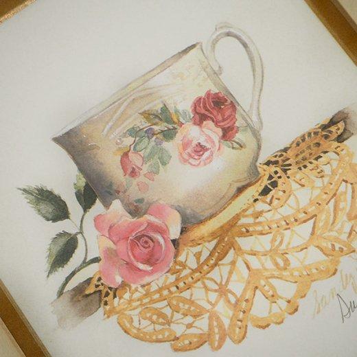 イギリス アンティーク 壁用フレーム画 バラ ローズ レース カップの画【Roses cup and daily】【画像4】
