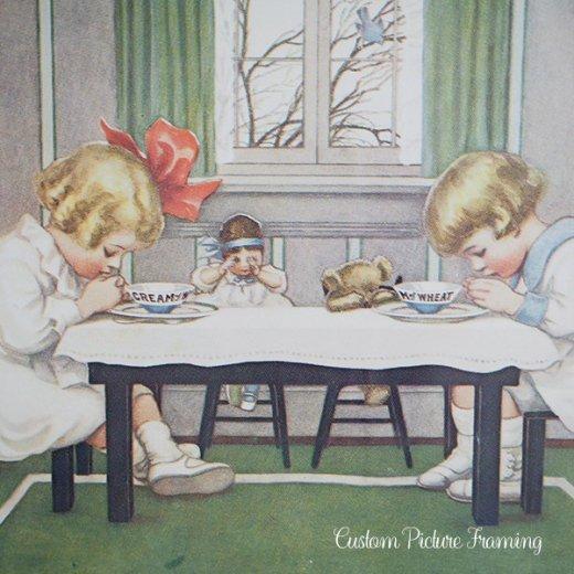アメリカ アンティーク 壁用フレーム画 祈りを捧げる幼子【Cream of Wheat】【画像2】