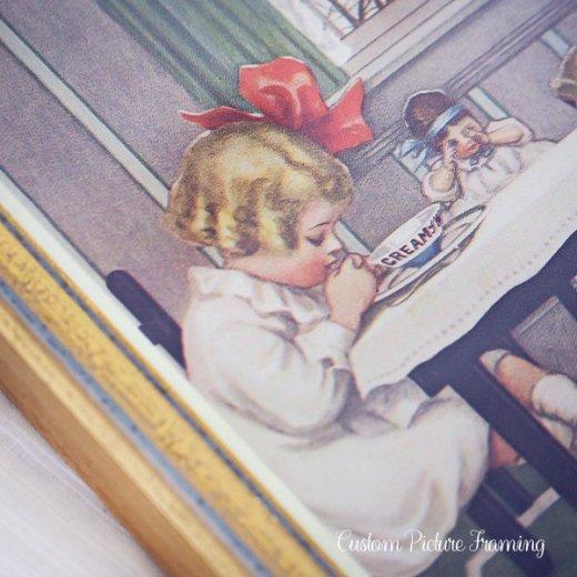 アメリカ アンティーク 壁用フレーム画 祈りを捧げる幼子【Cream of Wheat】【画像3】