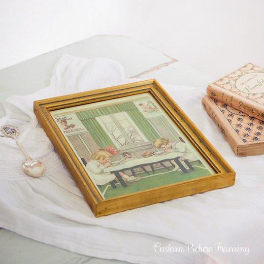 アメリカ アンティーク 壁用フレーム画 祈りを捧げる幼子【Cream of Wheat】【画像5】