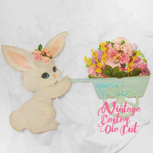 USA ウォールデコ アンティーク イースター 復活祭【23.5cm うさぎ花車】