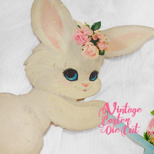 USA ウォールデコ アンティーク イースター 復活祭【23.5cm うさぎ花車】【画像2】