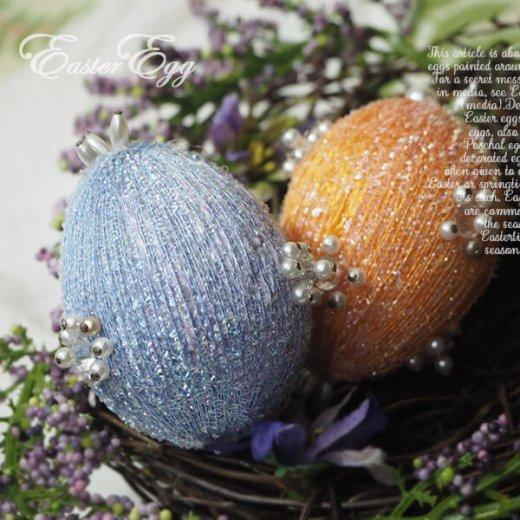 USA アンティーク イースターエッグ5個セット 復活祭【縦6cm ハンドメイド ピン装飾】【画像5】