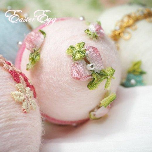 USA アンティーク イースターエッグ5個セット 復活祭【縦7cm ハンドメイド ピン装飾】【画像6】