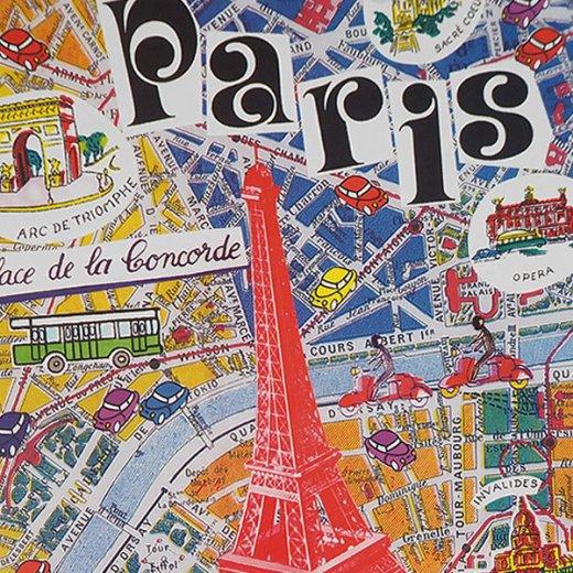 フランス ポストカード(エッフェル塔とパリの地図)【画像2】