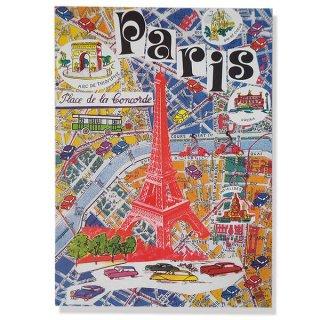 フランス ポストカード(エッフェル塔とパリの地図)