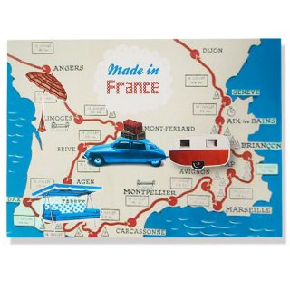 フランス ポストカード(ビーチ シトロエンDS キャンピングカー)