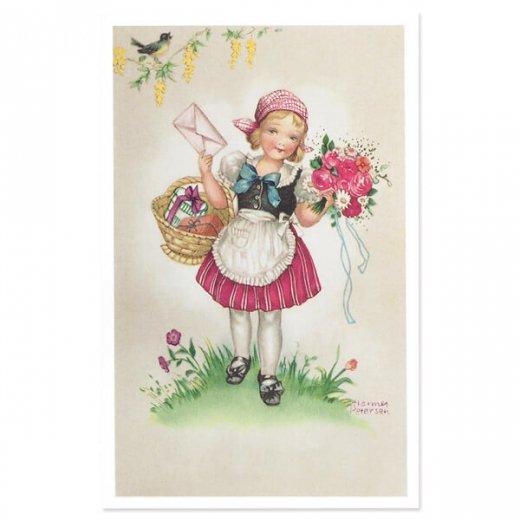 フランス ポストカード  (Bouquet et une fille)