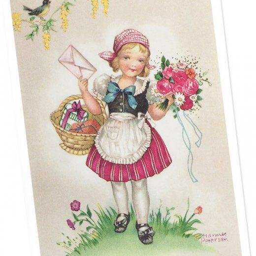 フランス ポストカード  (Bouquet et une fille)【画像2】