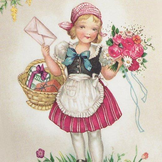 フランス ポストカード  (Bouquet et une fille)【画像3】