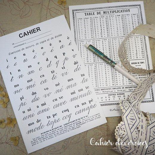 フランス製 アンティークリプロダクト学習ノート 文字【Cahier d'exercices】【画像4】